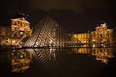 Museo del Louvre (La ventana de Alvaro) Tags: noche agua louvre muse reflejo nocturna museo reflejos pars afiaie