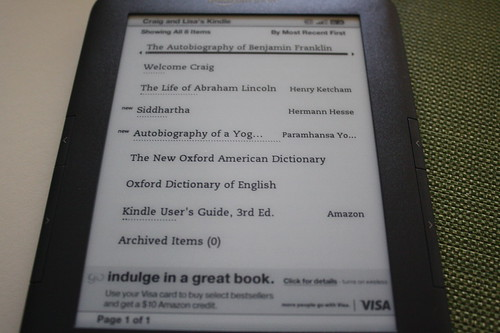 Amazon Kindle menu