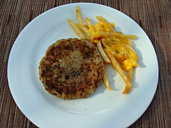 Burger and Fries (knightbefore_99) Tags: food west cheese mexico lunch hotel coast sauce burger mexican queso fries oaxaca huatulco lasbrisas