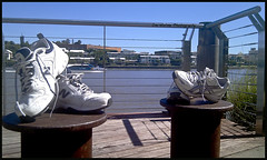These Shoes Are Made For Walking (Meremail) Tags: wow river walking shoes brisbane railing bollards bulimba flickrgolfclub 7daysofshooting ~~~api~~~ standoutimages stilllifesunday week42whileoutwalking
