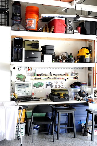 Desktop in garage