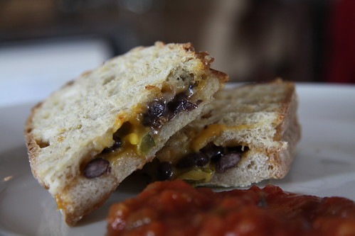 Bean and cheese sandwich with salsa
