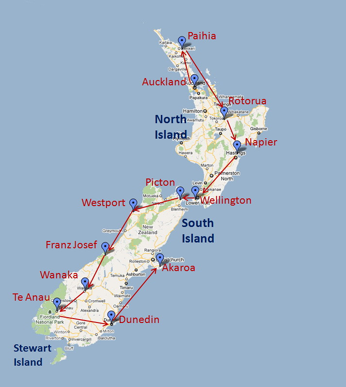 Map of New Zealand showing places that we visited in March/April 2011