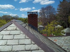 Chimney Lead Flashing into Slate Roof (GF Sprague) Tags: chimney boston ma belmont cap flashing brookline newton rebuild weston repairs repoint