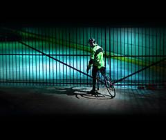 night biker (marianna armata) Tags: street city light urban metal night fence dark reflective friday