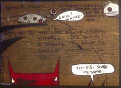 """'Nemesis Probes...' - yo & dude™ """"a walk to the river"""" - acrylic and marker on distressed pine; panel #? (eric Hews) Tags: copyright usa dog cats cute dogs television illustration cat puppy advertising fun corporate virginia robot puppies kitten funny eric artist comic employment drawing web yo humor cartoon emo creative culture kitty funnies kittens philosophy pop richmond dude robots strip writer comicstrip mean illustrator haha toon simple behavior society sarcasm nemesis unemployment freelance sarcastic psychology probes 2011 ambivalent hews yodude erichewscom yoanddude erichews yoanddudecom yodude™ ©2011erichews ©2011erichewscom emobots ennuizle"""