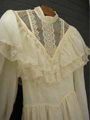 Gunne Sax Victorian Inspired Cream Cotton & Lace Ruffled Gown Close Up Front Right (mondas66) Tags: ruffles ribbons lace victorian cotton romantic ribbon gown elegant gowns ornate lacy frilly elegance ruffle gunnesax frills frill ruffled flouncy flounce lacework frilled ribboned flounces frilling frillings befrilled