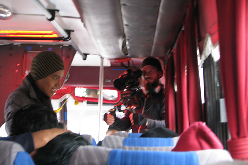 Shooting on a Condor bus en route to Riobamba.