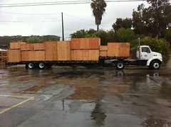 Low Boy truck loaded with boxes (Valley Box) Tags: truck wooden boxes flatbed woodbox woodboxes valleybox
