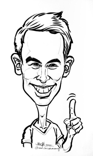George Young caricature for Mediacorp Okto Channel