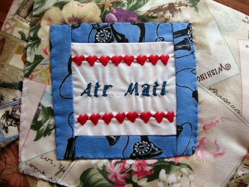Embroidered air mail