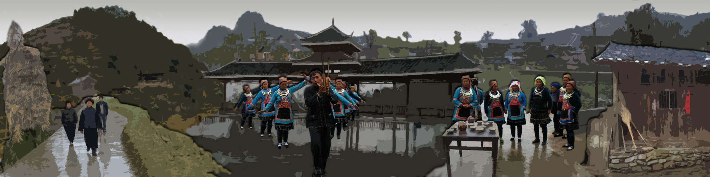 Walkers, performers at a temple and children at a tea table in a panoramic collage