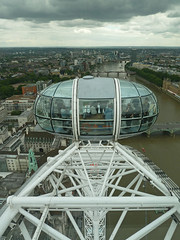 Stormy Sky from the London Eye,  looking west,  London,  England (David May) Tags: bridge sky westminster wheel gardens thames river pod jubilee south spokes capsule parliament stormy tourist millennium hungerford dull whitehall lambeth attraction