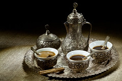 Arabic coffee pot (Peter Kremzar snapshots) Tags: old morning food brown white black hot color macro cup kitchen coffee metal closeup breakfast vintage silver dark greek handle restaurant cafe beans flavor natural drink metallic background object traditional beverage culture seed dry bean arabic east full pot arab copper strong middle caffeine aromatic heap isolated turkish freshness refreshment