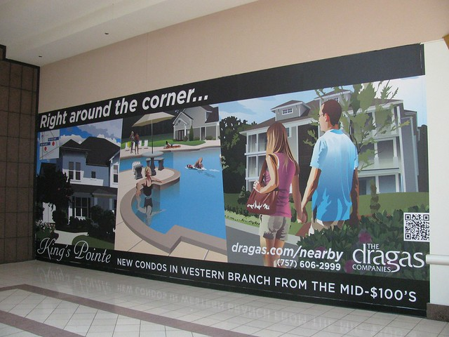 Dragas Companies King's Pointe Quads Announcement Artwork - Wall Scape at Chesapeake Square Mall