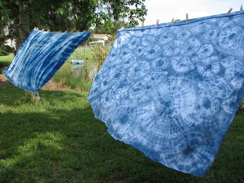 indigo on silk/rayon velvet (l) and jersey knit (r)