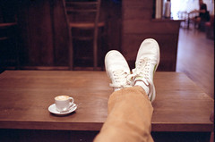 Sneakers and Coffee (Ray Phung Photography) Tags: food film feet coffee analog self 35mm ray kodak grain sneakers epson pumas espresso manual portra rede macchiato tennisshoes v700 colorperfect peopleroll