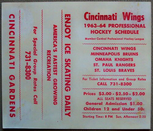 1963-64 CINCINNATI WINGS CPHL hockey pocket schedule