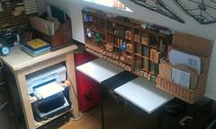 Studio re-organisation,  episode I (Wychbury Designs) Tags: uk art loft work vintage studio handmade sewing room craft printing type letter etsy folksy wychbury organsation