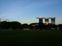 Singapore Flyer, Esplanade, Marina Bay Sands from The Padang