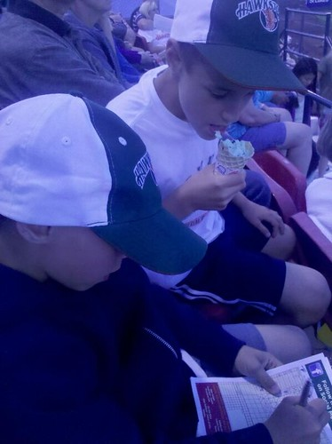 Spencer and Jack at Hawks Game