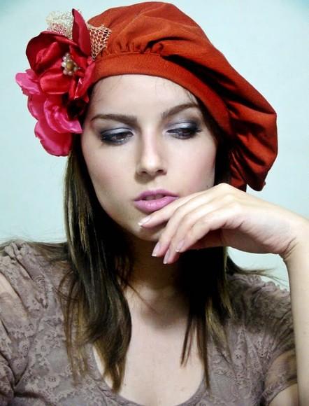 129cd03a06367 Frete Gratis Boina Francesa Paris (kah arantes) Tags  nude gorro flor botão  veludo