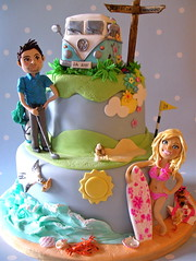 Barbie & Ken wedding cake (nice icing) Tags: pink flowers wedding sea dog sun cake vw golf waves seagull ken barbie crab surfing icing pastie campervan