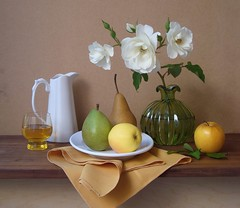 Joy Is Everywhere. (Esther Spektor - Thanks for 4 millions views..) Tags: light stilllife brown white reflection green art classic apple water glass leaves rose yellow table petals stem ceramics branch dish wine antique napkin joy explore pear vase bouquet 1001nights pitcher everydaylife flowwers bodegon naturemorte naturamorta wodden artisticphotos bej