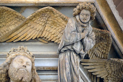 Detail of Angel above David: Claus Sluter, Well of Moses, 1395-1405