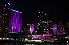 a purple facelift.... (gemini*jen) Tags: lighting city winter light colour june festival night buildings purple display harbour vibrant sydney australia circularquay celebration festivaloflight colourful projections vividsydney