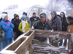 volunteers in the cold (barneshyrusa) Tags: compostbin growingpower