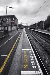 Convergence & Safety advice at Elstree & Borehamwood Station (Sean Hartwell Photography) Tags: london station yellow train platform tracks line safety commuting hertfordshire mindthegap popping herts thameslink elstreeborehamwood canoneosm