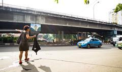 Taxi (Matthew Kenwrick) Tags: street woman hot sexy ass lady indonesia asia legs candid taxi arse overpass babe dirty sweaty jakarta catching bluebird milf hailing