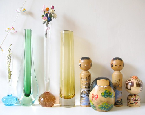 studio shelf with vintage vases and Kokeshi finds