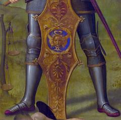 Perugino - Archangel Michael, detail Balance of souls (1499) (petrus.agricola) Tags: london michael artist gallery triptych signature national di archangel pietro vannucci pavia certosa perugino balances psychostasis