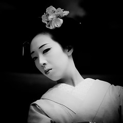 Rising sun eye ( Ogawasan) Tags: portrait people bw woman girl beauty face festival hair asian japanese dance costume kyoto asia blossom traditional culture makeup maiko geiko ornaments geisha kimono obi gion tradition performer kanzashi   apprenticegeisha ogawasan mamesome  gionkobumaiko  sachabogawasansachabach