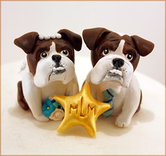 Beachy Bulldogs (Karly West) Tags: figurines sculpey caketoppers bittersweets customcaketoppers bittersweetz