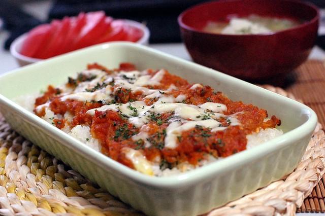 部長が作ってくれたボロネーゼソースを使ってトマトドリア! #gohan