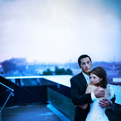 a chill in the night. (karrah.kobus) Tags: city wedding cold love rain night outside hug couple minneapolis marriage guthrietheater