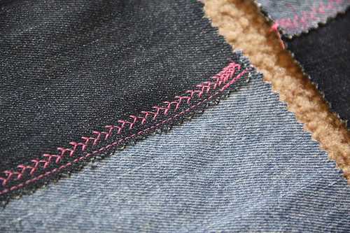 denim tote stitch detail