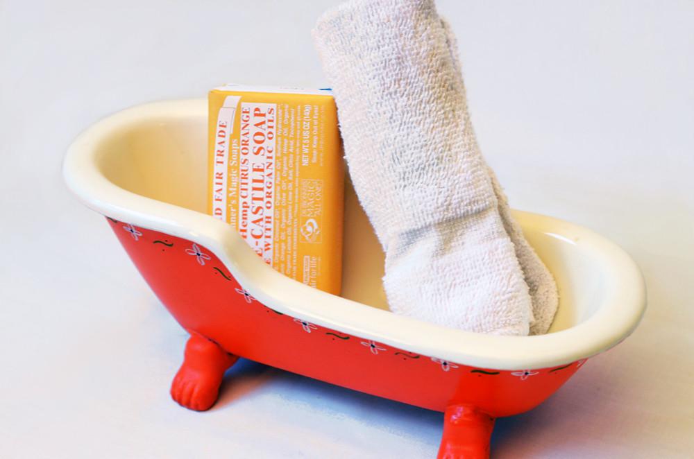 Vintage Orange Bathtub Dish