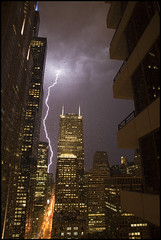 Zapper! (matt.sellars) Tags: chicago storm tower weather night sears searstower lightning storms geotag lightningstrike 2011 stormnight 5dmarkii willistower 5dmark2