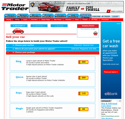 Old Motor Trader Sell Car Page