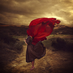the path of lost souls (brookeshaden) Tags: red clouds landscape veil wind path surreal stormy whimsical fineartphotography brookeshaden texturebylesbrumes religiousundertone