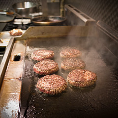 Burgers on the griddle.