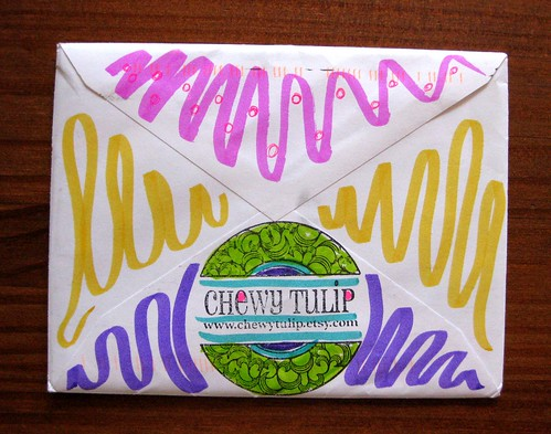 Rainbow envelope from chewy tulip, back
