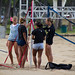 Setting up for beach volleyball / other end of the net - Queen's Beach