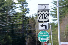 US 202 and Maine Turnpike (I.C. Ligget) Tags: road signs sign us airport united maine auburn dot route transportation font shield states turnpike tp department 202 shields lewiston lehay