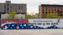 Rising out of the Ashes MS 45 Remembers 9/11 Mural, Belmont, Bronx, New York City (jag9889) Tags: nyc newyorkcity school usa ny newyork graffiti education mural unitedstates belmont bronx unitedstatesofamerica worldtradecenter 911 collapse wtc thebronx groundzero middleschool 2014 terroristattack columbussquare 9112001 91101 ms45 westbronx jag9889 thomascgiordano