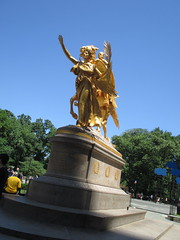 Civil War Statue General Sherman on Horseback with Angel 1331 (Brechtbug) Tags: street plaza new york city nyc roof cactus building green art yellow statue architecture angel bronze gold hotel leaf wings construction hands war pin afternoon shadows general near top flag fingers profile civil american underneath needles avenue 5th cushion sherman 59th the 06152014